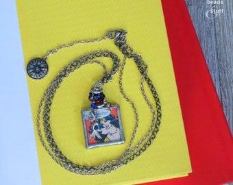 Wonder Woman Silver Square Pendant Necklace | Super Hero Jewelry | Mixed Media Design
