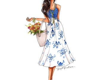 "Fashion illustration ""White and blue"" printable illustration, digital fashion illustration, printable art, fashion clipart, comercial use"