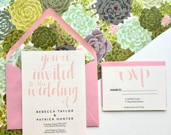 Custom Wedding Invitation + Response Card, Wedding Invitation, Wedding Invitation Set, Printed Invitations with Lined Envelopes