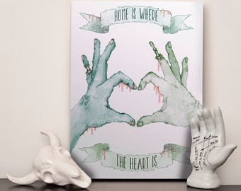 """Zombie - Home Is Where The Heart Is - 12x16"""" (A3) Canvas"""