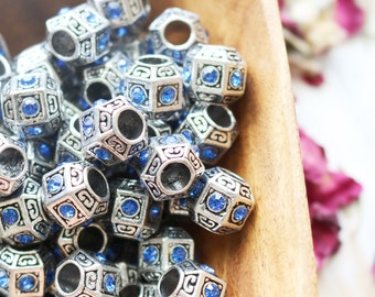 set of 2, blue rhinestone beads, antique silver, metal beads, large hole beads, 11mm x 10mm