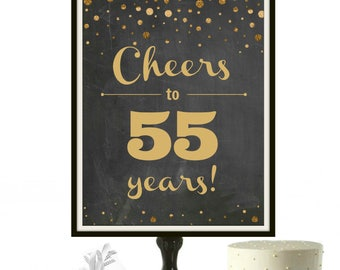 55th Anniversary Sign, 55 Birthday, Chalkboard Print, Gold Glitter, Gold Party Decor, Roaring 20s Party Decorations, Birthday PRINTABLE