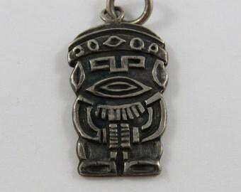 Inca God Figure 800 Silver Charm or Pendant.