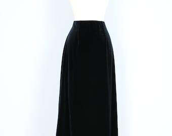 Vintage Black Velvet Midi Skirt Straight Black Skirt 1990s In Petite Sizing Size XS Small Medium