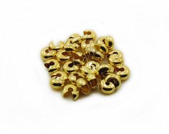 6mm Gold Color Crimp Beads, Gold Color Crimp Beads, Crimp Beads Cover, 25 pcs Crimp Beads, Crimp Beads, Jewelry Making, DIY Craft Supplies