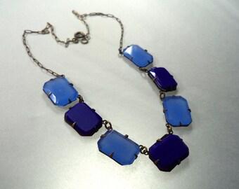 Vintage Art Deco Czech Glass Necklace Sky Blue Sapphire Blue Choker Prong Set Open Back