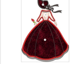 SOUTHERN BELLE APPLIQUE red doll machine embroidery download 3 diff sizes (  4x5  5x6  6x7 )
