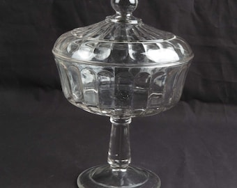 """Antique glass compote vintage EAPG clear pattern footed covered lid ribbon 10.75"""""""
