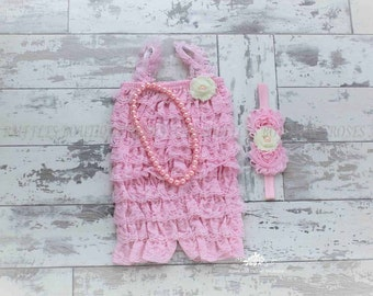 Pink Lace Baby Romper SET, Baby Girl Romper, Pink Baby Romper, Newborn Romper, Toddler Romper, Photo Prop, Pink Birthday Romper
