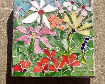 Happiness is a Garden: Stained Glass Mosaic Wall Art