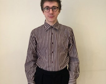 Pinstriped Mans Shirt in Brown