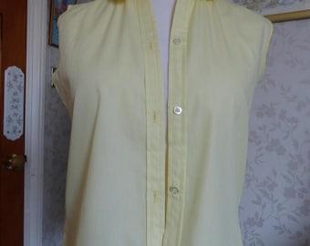 Sweet lemon yellow Carol Brent cotton blouse sleeveless 50s 60s 70s M