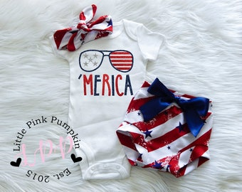 4th of July Outfit, Baby Girl 4th of July Shirt, Patriotic Outfit, Merica Outfit, Red White Blue, Optional Bloomers Set