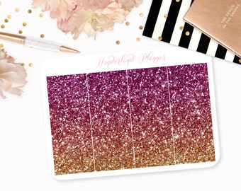 Ombre Glitter Header Planner Stickers - Purple, Pink & Gold // Perfect for Erin Condren Vertical Life Planner