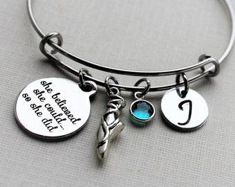 dance bracelet, personalized dance bracelet, dance charm bracelet, dance initial bracelet, dance theme jewelry, dance theme gift, dance gift