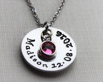 child name necklace, child name and date necklace, personalized mom necklace, mothers child name necklace, mothers necklace, mothers gift