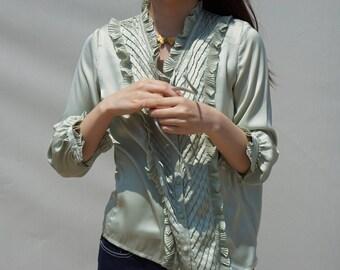 Mint silk blouse / victorian blouse/