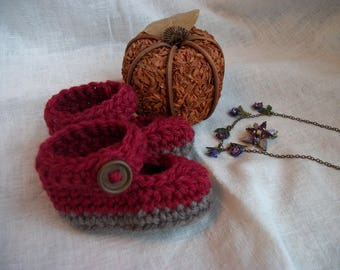 "WALDORF DOLL SHOES, wool, Mary Jane doll shoes,  approx.  3.25"" long, Effanbee, Horsman"