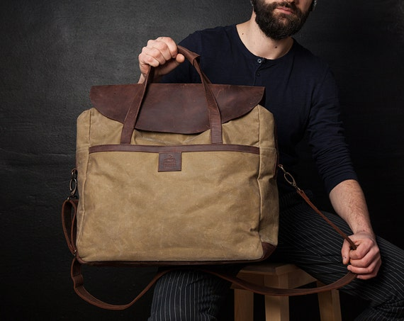 Canvas Laptop Bag Men Bag Waxed Canvas Bag Men Laptop Bag