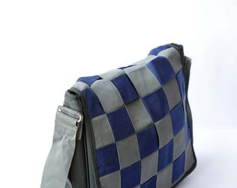 Reclaimed Inner Tube Safety Belt Flap Messenger Bag- Blue and Grey