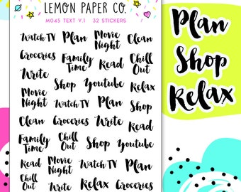 M045 Text V.1 // Planner Stickers