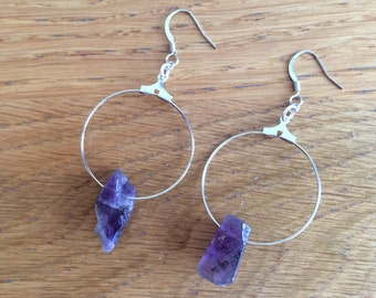 Raw Amethyst Earrings, Amethyst Earrings, Ametist Earrings,