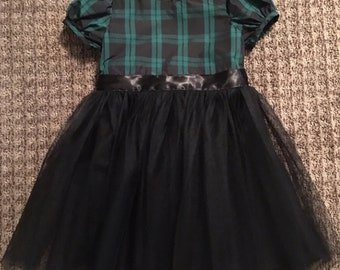 Laura dress in green and black plaid with tulle skirt