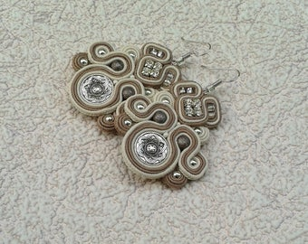 Soutache Earrings beige, ivory colors- Soutache earrings  -  Handmade Earrings. Beige earrings. Light brown earrings