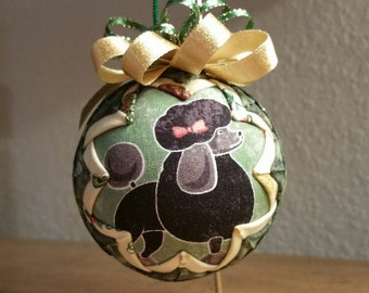 Quilted Ornament, Poodle Ornament, Christmas Ornament
