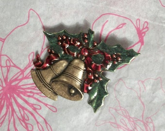 Hand Enameled Holly with Bells