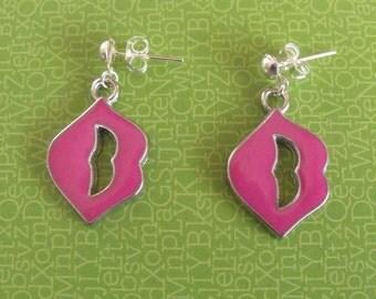 Pink Lips Earrings, Retro Earrings, Gift for Her, Stud Earrings, Dangle Earrings, Pink Earrings, Handmade Earrings, Hippie Earrings, Pink