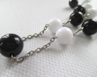 Bead Necklace / Earring Set * Black & White Beads * Matching Dangle Earrings * Silver Tone Chain * Long Necklace * Gift For Lady