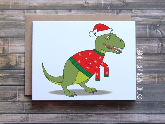 Funny Christmas card T-Rex short arms T-Rex Christmas card