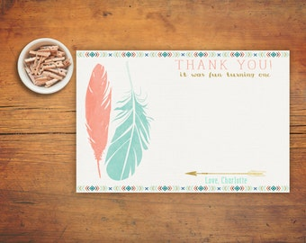 Boho Wild One Thank You Card, Tribal Thank You Card, Girl Feather Thank You Card, Feathers and Arrows, Printable Thank You Card