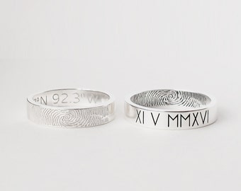 Coordinates Ring / Latitude Longitude Ring / Actual Fingerprint Ring / Location Ring / Couple Ring - CR08