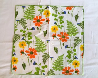 1960s Vera Neumann Napkins Set of Four (4) Flowers Orange Yellow Blue Green Fern Leaves Mid-Century 1970s Retro Vintage 100% Cotton