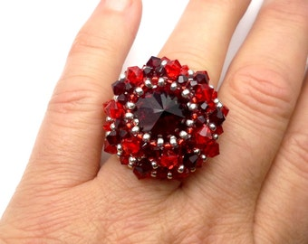 Silver red embroidered ring, Adjustable ring in Sterling Silver, Swarovski Crystal, high fashion