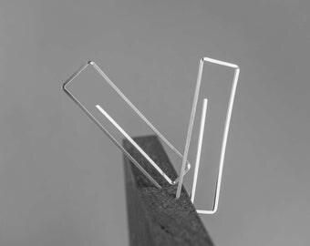 Sterling Silver Earrings,Long Silver Earrings,Silver Threader Earrings,Minimal Sterling Silver Earrings,Modern Geometric Earrings,Threaders