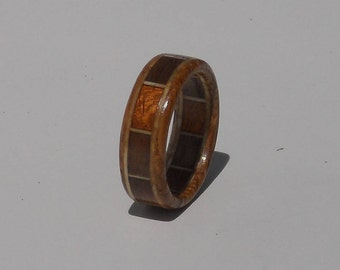 Segmented wood ring,Laminated wood ring, Wooden Ring, Wood Ring, wood jewelry