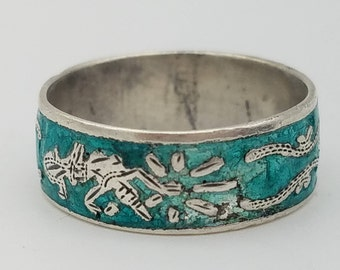 Vintage Blue-Green Enameled Siam Sterling Silver Ring - Size 6.25