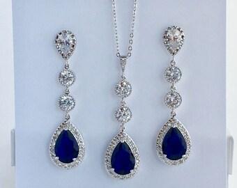 Long Blue Sapphire Bridal Jewelry Set Cubic Zirconia Wedding Teardrop