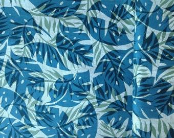 Teal Hawaiian leaf print fabric, green background, Polynesian, Hawaiian Fabric, Aloha Shirt Material, Tribal Print, 100% Cotton poplin