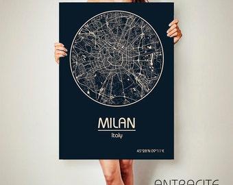 MILAN Italy CANVAS Map Milan Italy Poster City Map Milan Italy Art Print Milan Italy