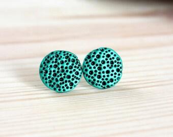 Black green stud earrings Black green earrings Green circle studs Modern earrings Textured earrings Textured studs Gifts under 20