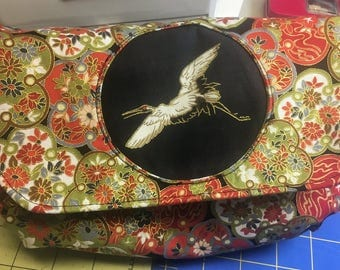 The Morning Glory Pouch - Coordinates with the Oriental Moonflower Tote Bag - Oriental Cranes & Flowers