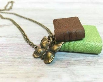 Mini book Book necklace jewelry Miniature book Book necklace pendant Book lovers gift Handmade mini Mini journal necklace Bookworm book gift