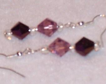 Light and Dark Purple Drop Earrings. Free Shipping
