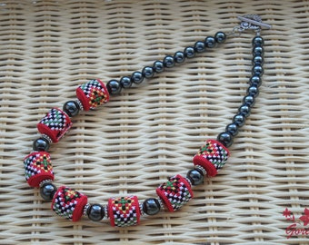 Ethnic necklace folk art red black bib necklace hematite jewelry gift for women ukrainian art fabric necklace embroidered jewelry her gifts