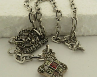 "Vintage Judith Jack Sterling Silver, Marcasite & Garnet Toggle Link 31"" Necklace w/ Box."