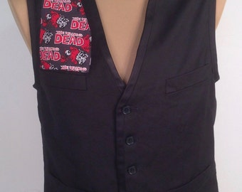The Walking Dead Vest By Maria B. Vintage Vest & Walking Dead Fabric. Size Small.